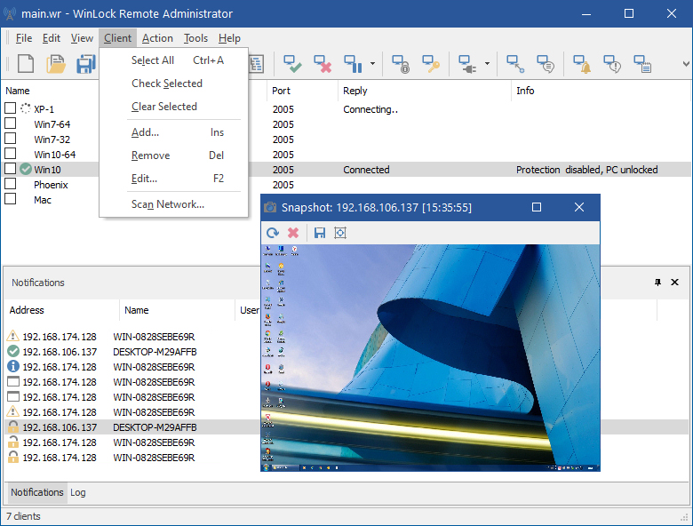 Click to view WinLock Remote Administrator 3.09 screenshot